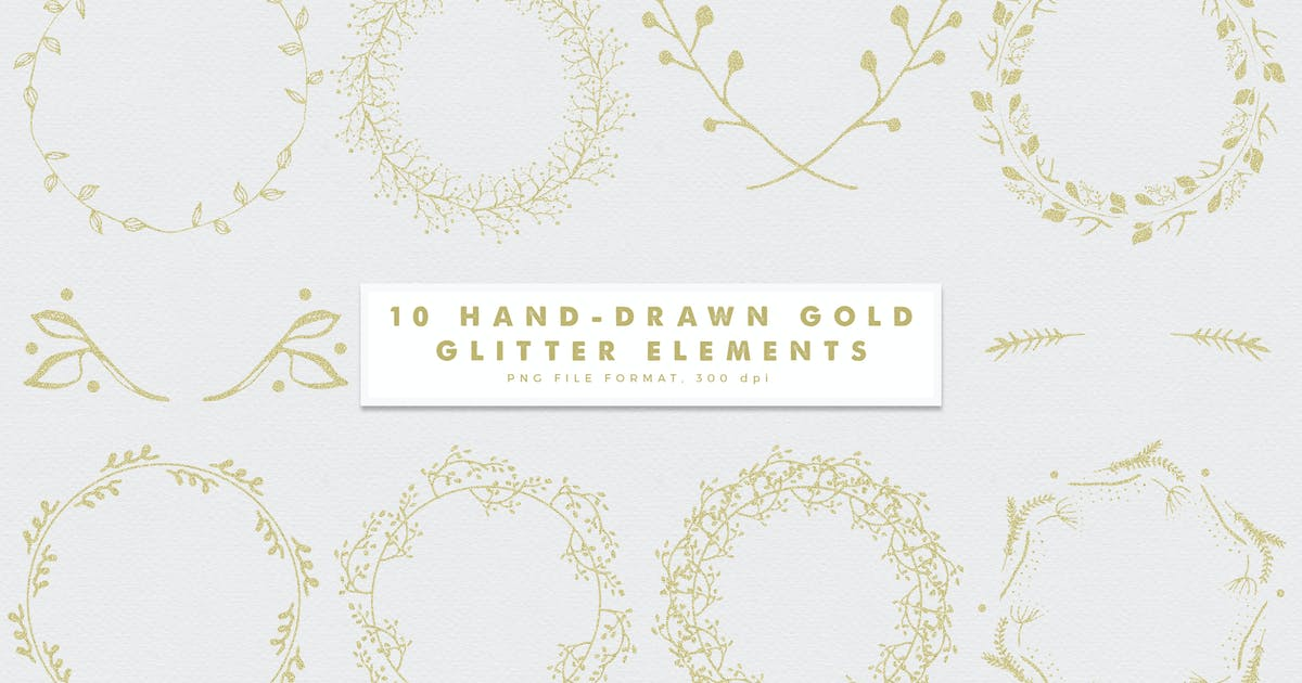 Download Gold-2 Glitter Hand-Drawn Elements by featherandsage