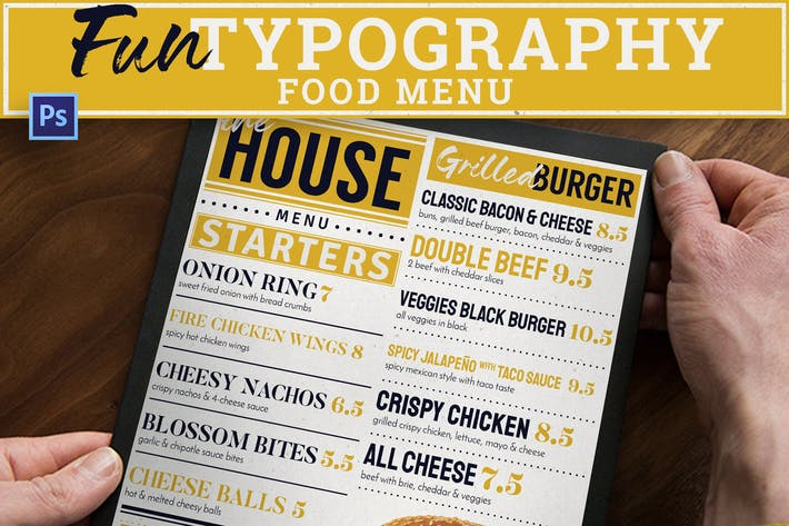 Thumbnail for Menu Alimentaire Typographie Fun