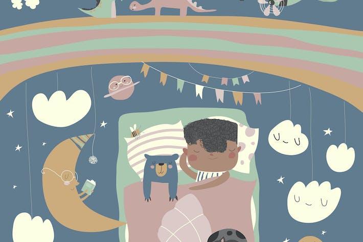Garçon dormant avec ours en peluche #illustration2020