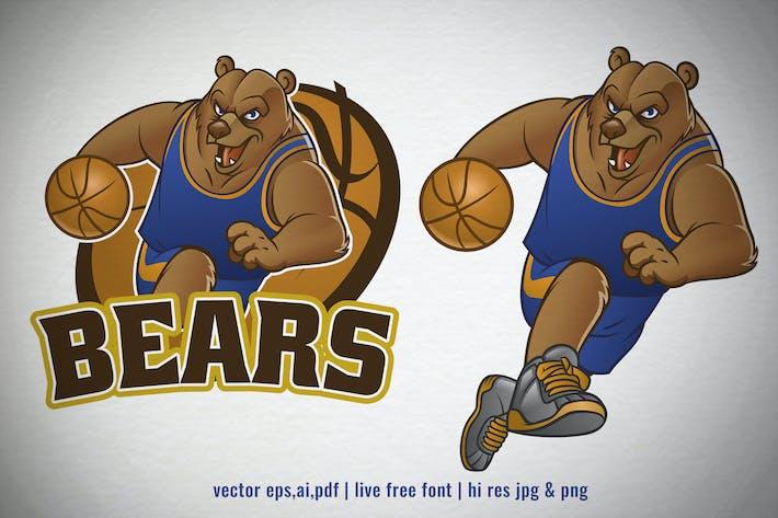 Thumbnail for cartoon set of brown bear basketball mascot