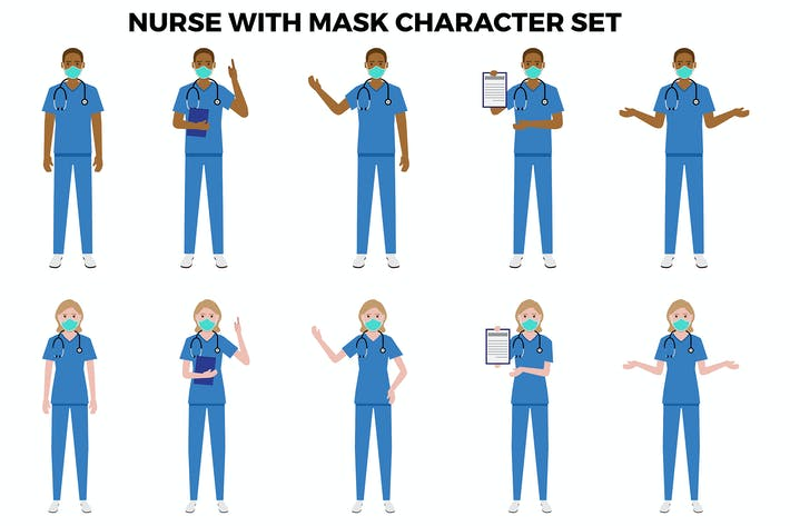 Nurse With Mask Character Set – Illustrations