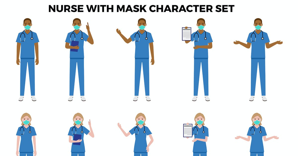 Download Nurse With Mask Character Set – Illustrations by designesto