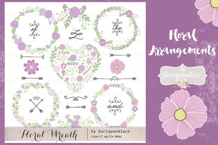 Thumbnail for Floral arrangements purple Vector