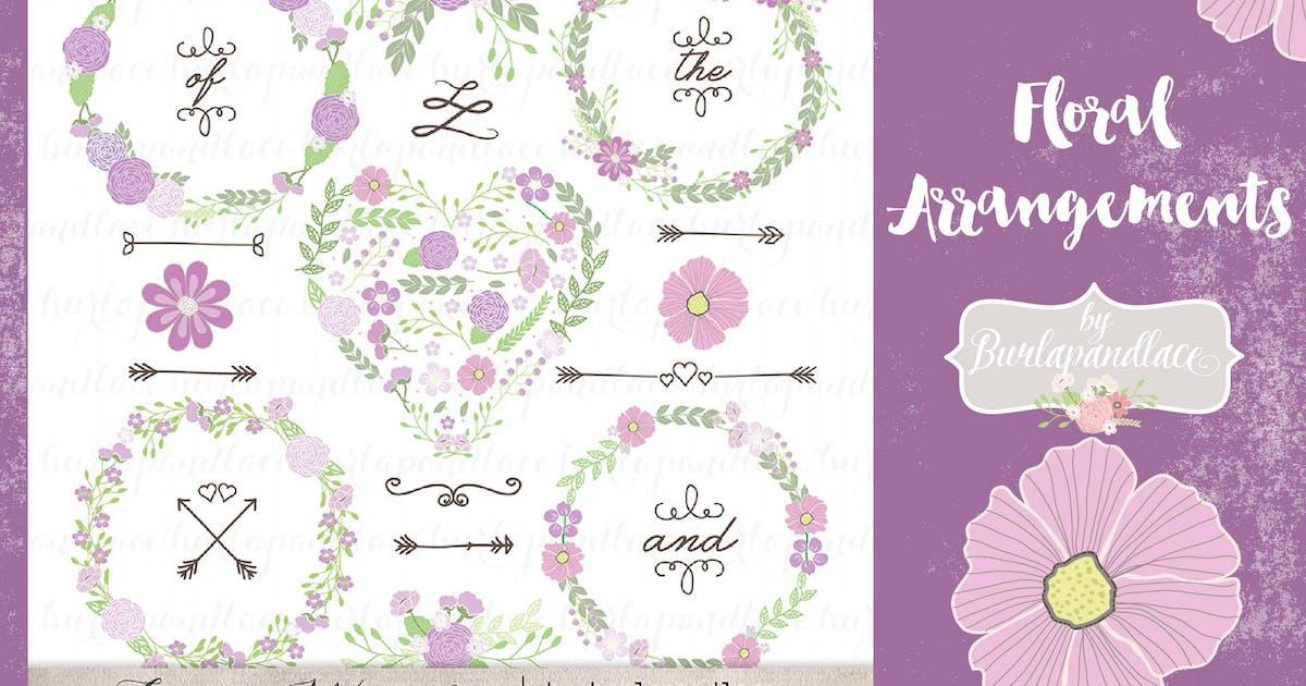 Floral arrangements purple Vector by burlapandlace