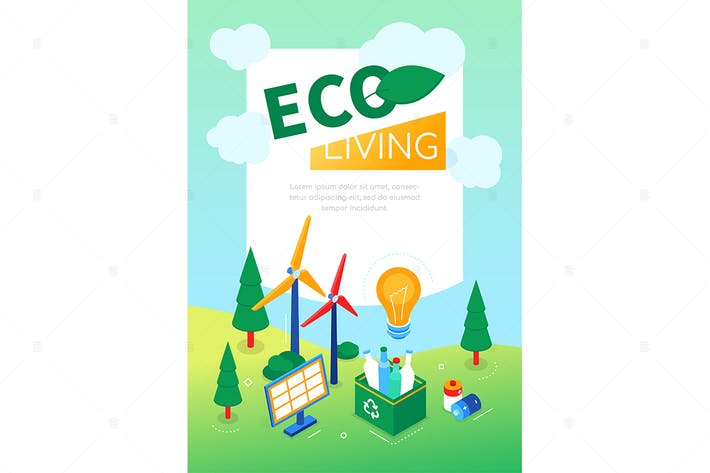 Thumbnail for Eco living - modern colorful isometric web banner