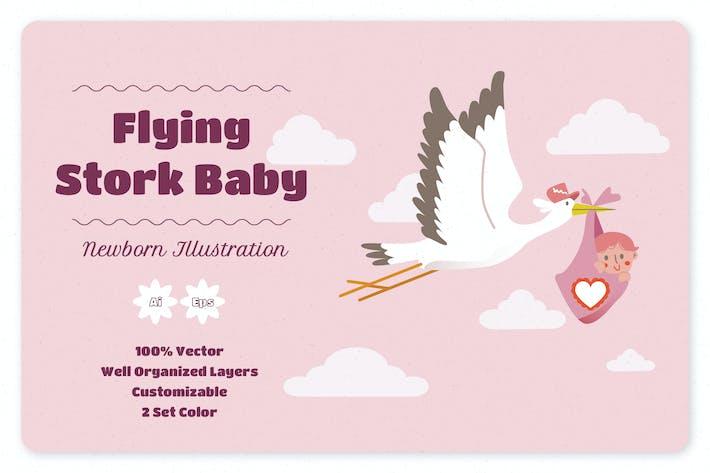 Flying Stork Baby Illustration