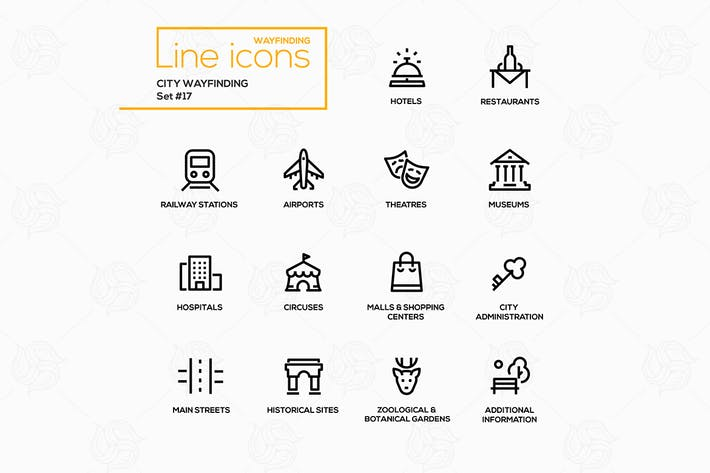 Cover Image For City Wayfinding - modern vector line icons set