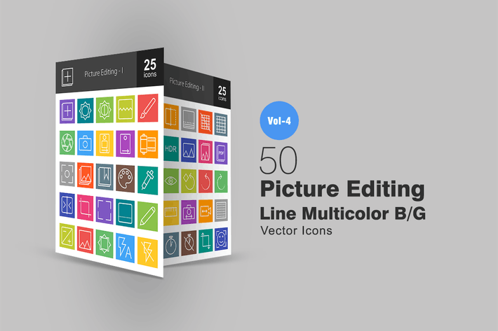 Thumbnail for 50 Picture Editing Line Multicolor Icons