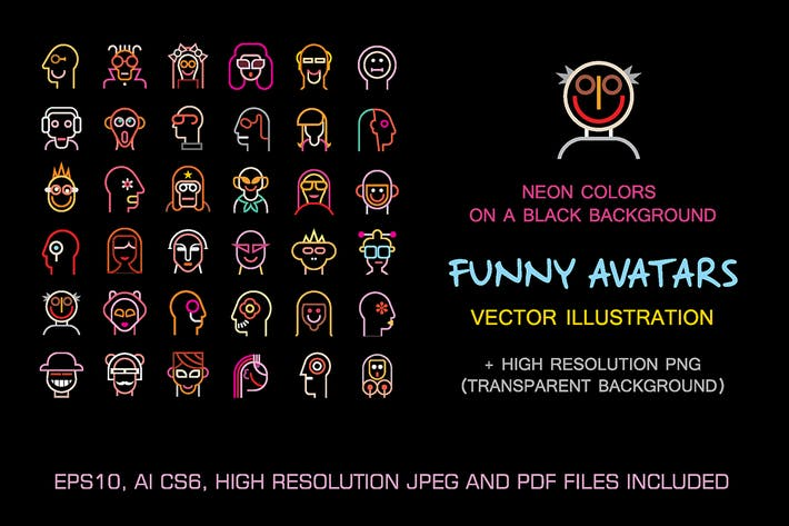 Thumbnail for Set of Funny vector avatars