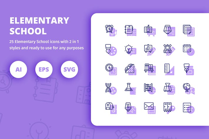 Thumbnail for Elementary School Icons (Line and Solid)