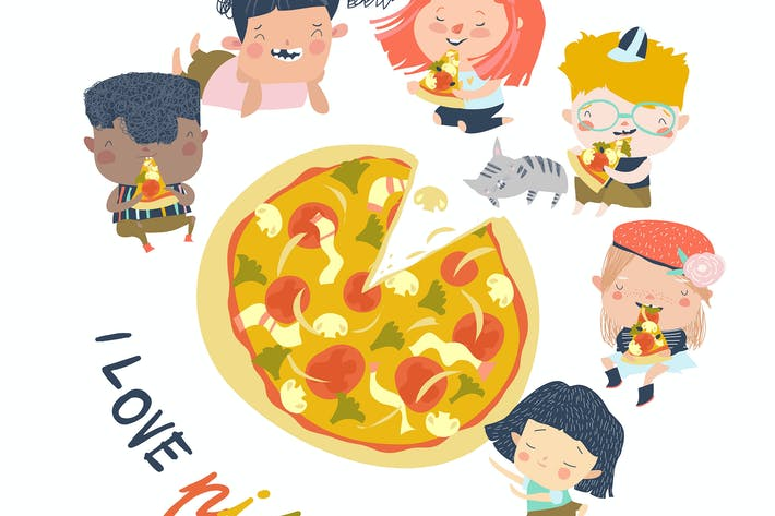 Cartoon hungry children eating pizza