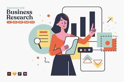 Ilustración plana de investigación del mercado empresarial