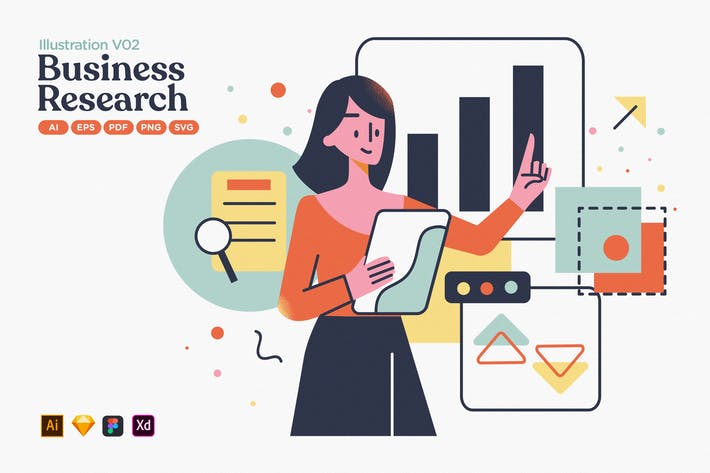 Thumbnail for Business Market Research Flache Illustration