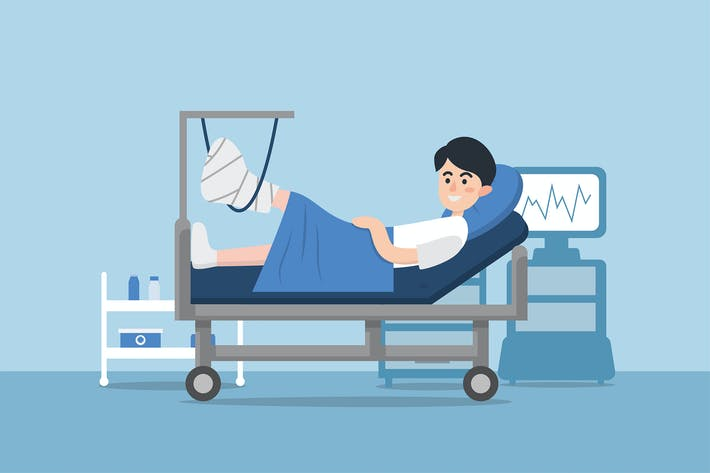 Patient with broken leg lying in hospital.