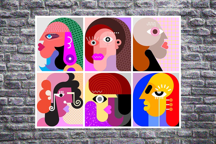 Six Different Faces layered vector illustration