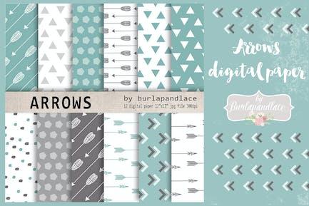 Mint arrows digital paper pack