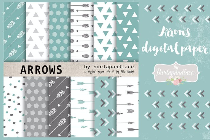 Thumbnail for Mint arrows digital paper pack