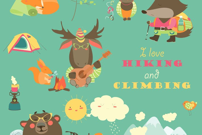 Thumbnail for Cartoon characters and mountaineering elements