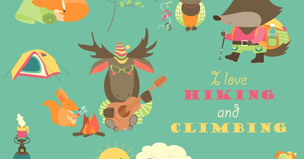 Cartoon characters and mountaineering elements by masastarus