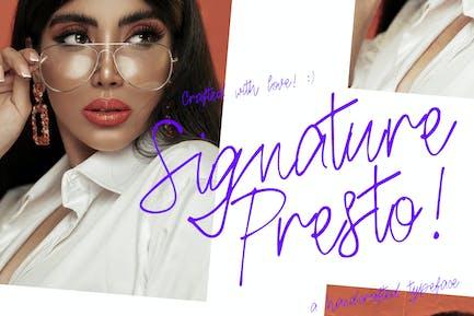 Signature Presto Typeface
