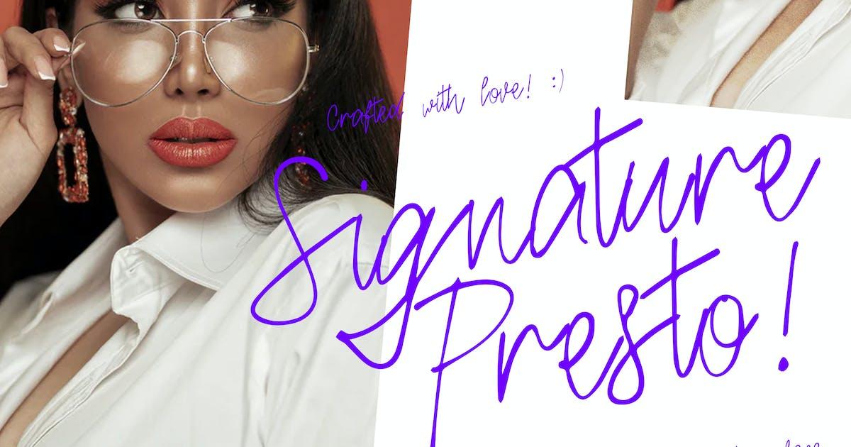 Download Signature Presto Typeface by Slidehack