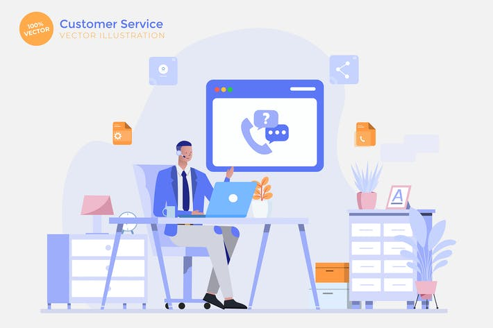 Thumbnail for Customer Service Flat Vector Illustration