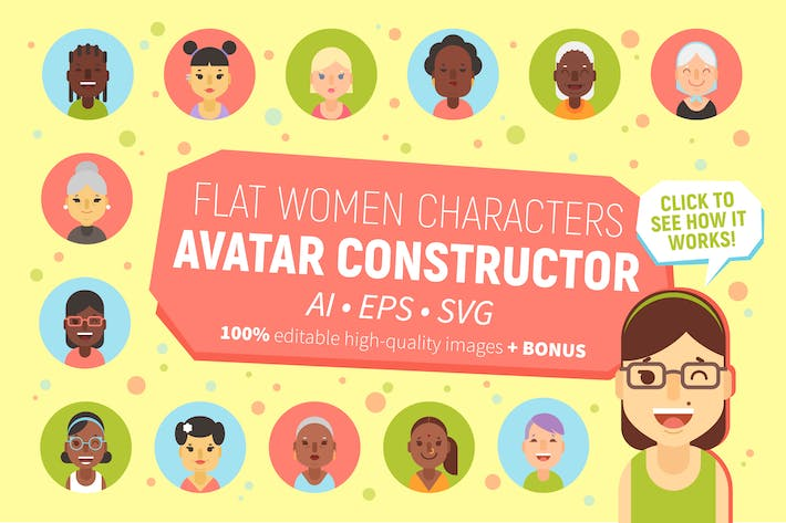 Thumbnail for Women Characters Avatar Constructor