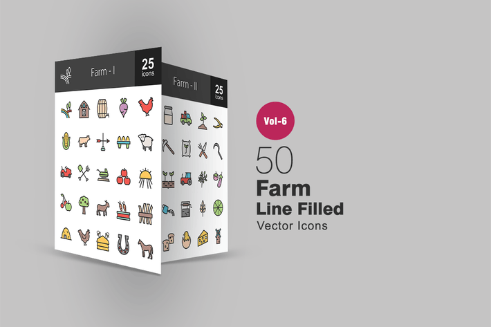 Thumbnail for 50 Farm Filled Line Icons