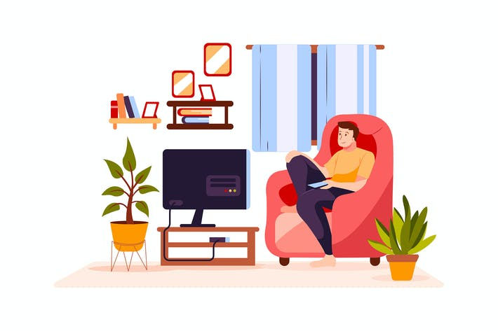 Thumbnail for The boy is watching TV
