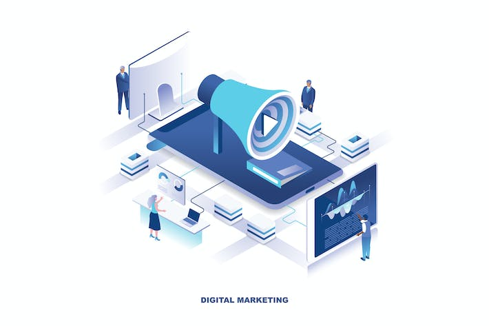 Thumbnail for Digital Marketing Isometric Banner Flat Concept