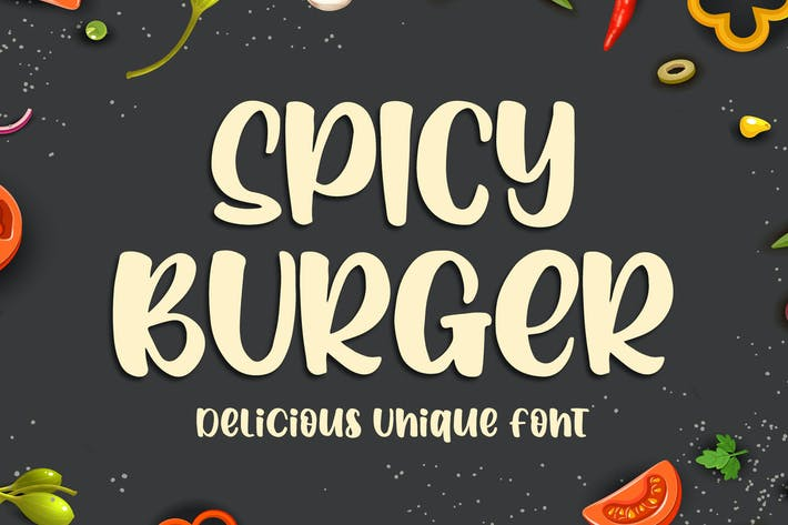 Cover Image For Spicy Burger - Delicious Unique Font