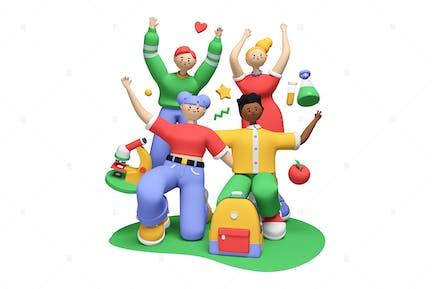 Cheerful Students - 3D Illustration