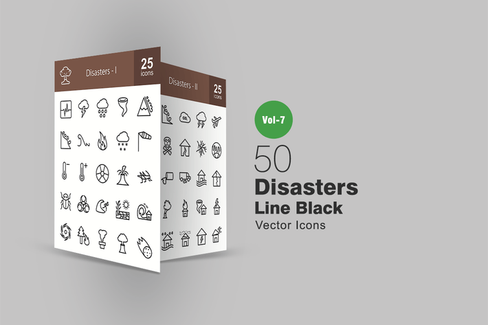 Thumbnail for 50 Disasters Line Icons