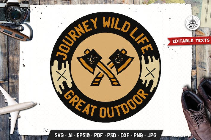 Thumbnail for Journey Wild Badge, Vector Adventure Retro Graphic