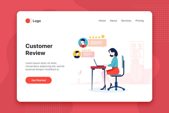 Thumbnail for Customer Review flat concept for Landing page