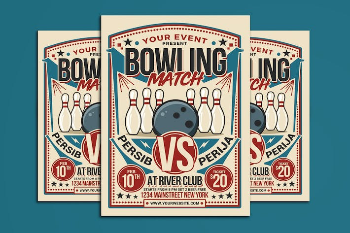 Thumbnail for Retro Bowling Match Flyer