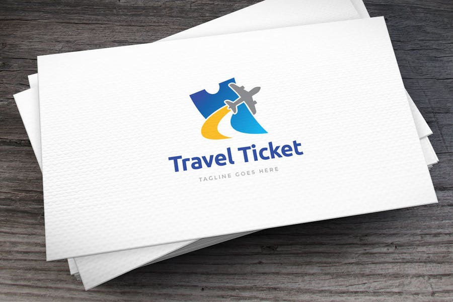 Travel Ticket Logo Template