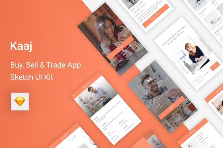 Thumbnail for Kaaj - Buy, Sell & Trade UI Kit for Sketch