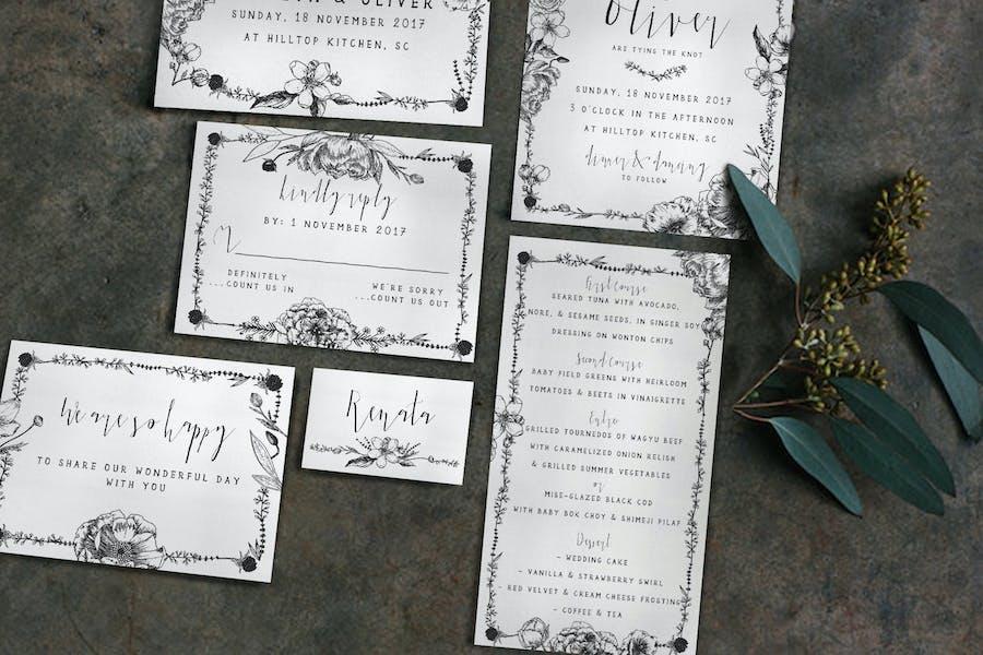 Elegant Flower Wedding Invitation
