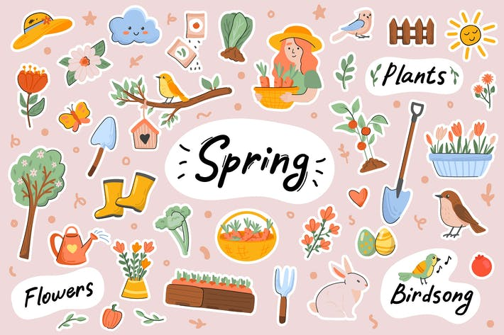 Spring Cute Stickers Set