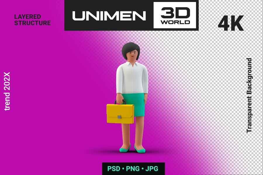Happy Businesswoman 3D Standing with Briefcase