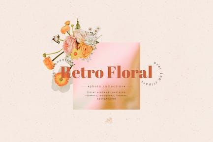 Halftone Retro Blumenset