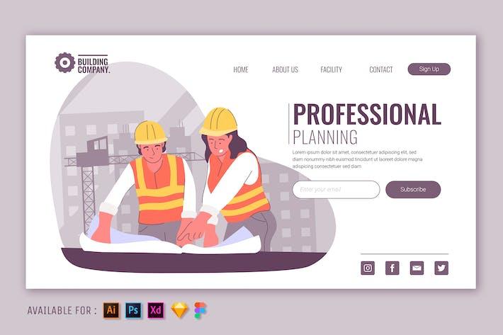 Thumbnail for Plan de construction - Illustration Web à plan plat