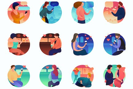 Interactions Curvy People Concept Illustrations