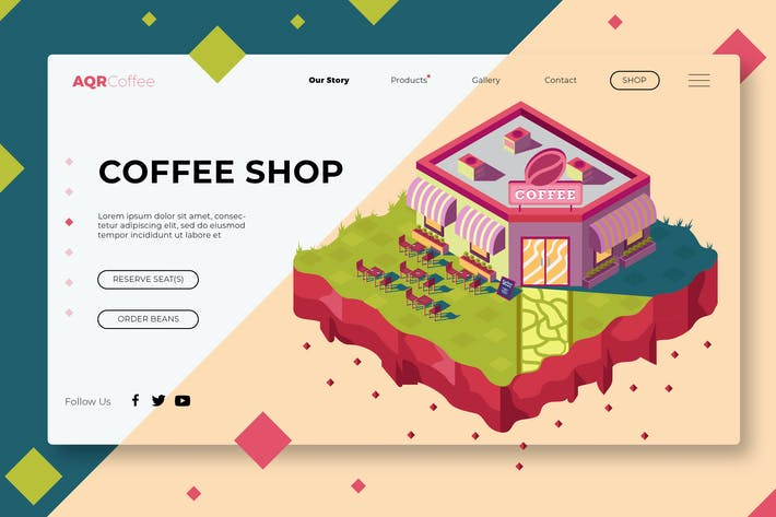 Thumbnail for Coffee Shop - Banner & Landing Page