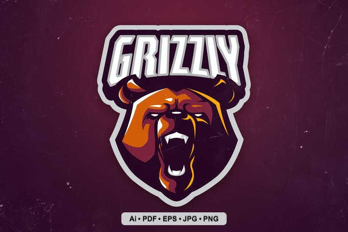 Grizzly Esports and Sports mascot Logo