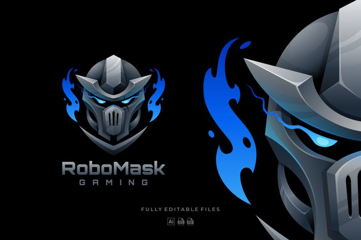 Robot Mask Sports and E-sports Logo