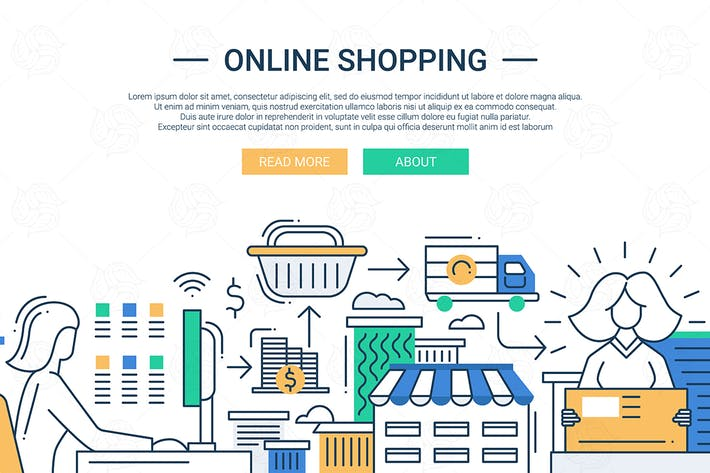 Thumbnail for Online shopping line flat design banner