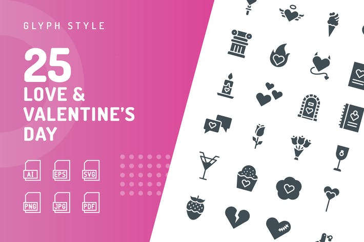 Love & Valentine's Day Glyph Icons