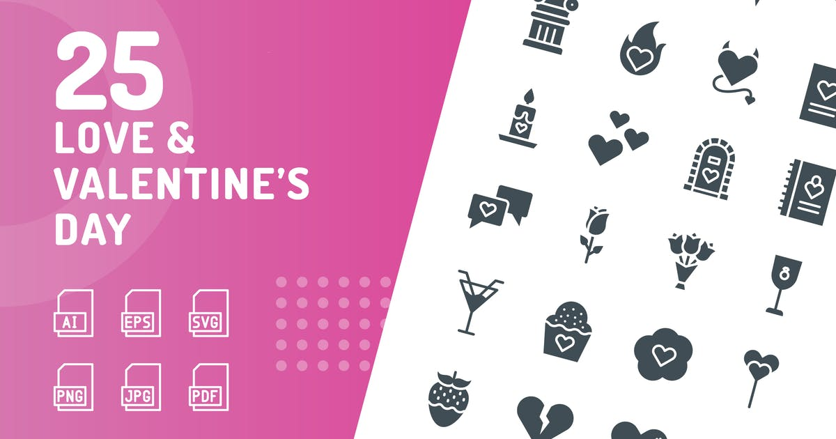 Download Love & Valentine's Day Glyph Icons by kerismaker
